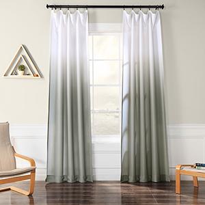 Ombre Faux Linen Semi Sheer Ombre Slate 96 x 50-Inch Curtain Single Panel