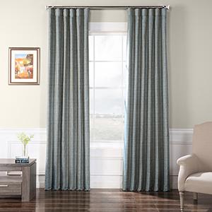 Faux Raw Silk Heron Blue 96 x 50-Inch Curtain Single Panel
