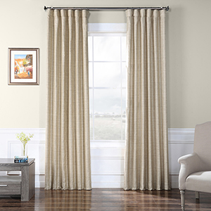 Faux Raw Silk Sandpiper Tan 84 x 50-Inch Curtain Single Panel