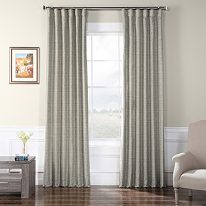 Faux Raw Silk Chickadee Grey 96 x 50-Inch Curtain Single Panel