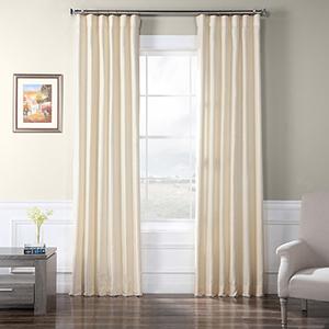Faux Raw Silk Vireo Ivory 96 x 50-Inch Curtain Single Panel