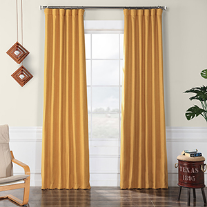 Faux Linen Blackout  Dandelion Gold 108 x 50-Inch Curtain Single Panel