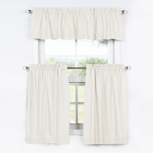 Bright White 36 x 29 In. Solid Cotton Kitchen Tier Curtain and Valance Set