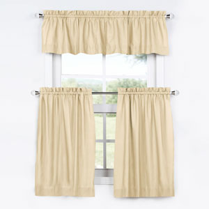 Beige 36 x 29 In. Solid Cotton Kitchen Tier Curtain and Valance Set