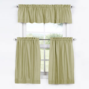 Lake Moss 24 x 29 In. Solid Cotton Kitchen Tier Curtain and Valance Set
