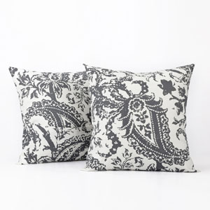 Paisley Grey Printed Cotton Pillow Cover, Set of Two