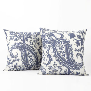 Paisley Blue Printed Cotton Pillow Cover, Set of Two