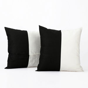 Colorblock Onyx Black and  Off White Horizontal Stripe Cotton Pillow Cover, Set of Two
