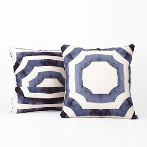Shiny Blue Printed Cotton Pillow Cover, Set of Two