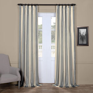 Ice Blue and Cream 108 x 50 In. Faux Silk Taffeta Stripe Curtain