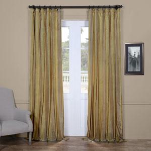 Green and Taupe 84 x 50 In. Faux Silk Taffeta Stripe Curtain