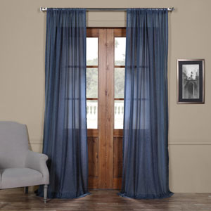 Blue 84 x 50 In. Faux Linen Sheer Curtain Panel