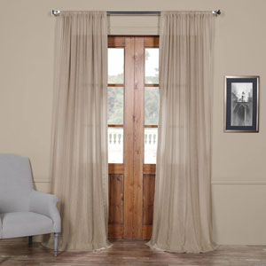 Vintage Beige 84 x 50 In. Faux Linen Sheer Curtain Panel