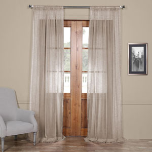 Open Weave Grey 96 x 50 In. Linen Sheer Curtain
