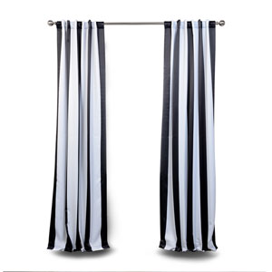 Black and White Stripe 84 x 50 In. Blackout Curtain Single Panel