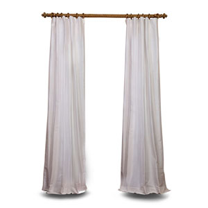 White 120 x 50 In. Textured Dupioni Silk Curtain Panel