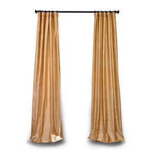 Gold 120 x 50 In. Textured Dupioni Silk Single Panel Curtain