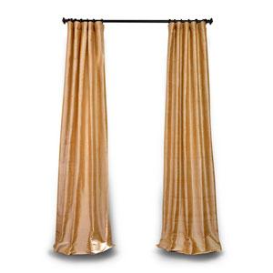 Gold 96 x 50 In. Textured Dupioni Silk Single Panel Curtain