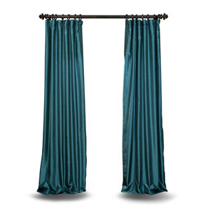 Teal 84 x 50 In. Faux Dupioni Silk Single Panel Curtain