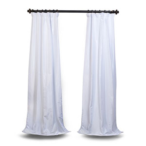 White 96 x 50 In. Blackout Vintage Textured Faux Dupioni Silk Curtain