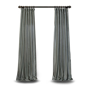 Grey 96 x 50 In. Textured Faux Dupioni Silk Single Panel Curtain