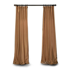 Gold 120 x 80 In. Textured Faux Dupioni Silk Single Panel Curtain