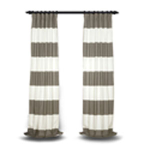 Slate Gray and Off White 108 x 50 In. Horizontal Stripe Curtain