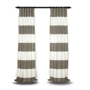 Slate Gray and Off White 120 x 50 In. Horizontal Stripe Curtain
