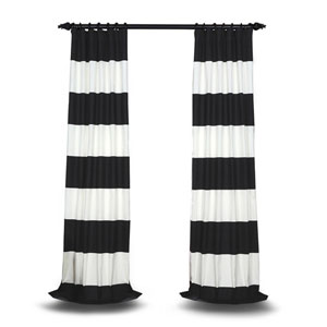Black and Off White 96 x 50 In. Horizontal Stripe Curtian