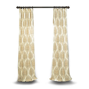 Tan 108 x 50 In. Printed Cotton Twill Curtain Single Panel