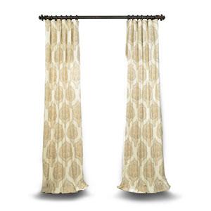 Tan 84 x 50 In. Printed Cotton Twill Curtain Single Panel