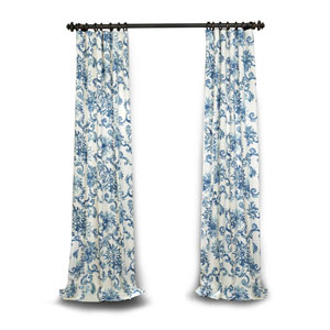 Blue 84 x 50 In. Printed Cotton Twill Curtain Single Panel