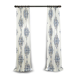Blue 96 x 50 In. Printed Cotton Twill Curtain Single Panel