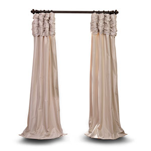 Ruched Beige 120 x 50 In. Faux Silk Taffeta Curtain Single Panel