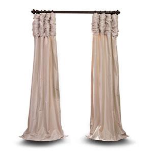 Ruched Beige 96 x 50 In. Faux Silk Taffeta Curtain Single Panel