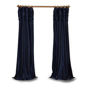 Ruched Navy Blue 84 x 50 In. Faux Silk Taffeta Curtain Single Panel