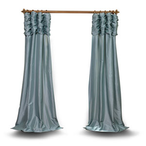 Ruched Light Blue 96 x 50 In. Faux Silk Taffeta Curtain Single Panel
