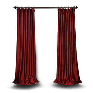 Red 96 x 50 In. Blackout Faux Silk Taffeta Curtain Single Panel