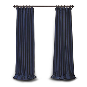 Navy Blue 84 x 50 In. Blackout Faux Silk Taffeta Curtain Single Panel