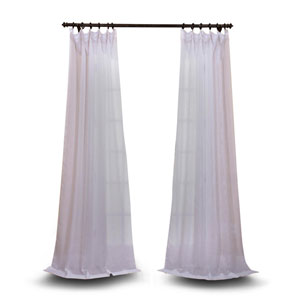 Double Layered White 84 x 50 In. Sheer Curtain