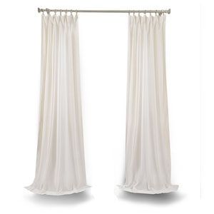 White 96 x 50 In. Faux Linen Sheer Single Panel Curtain Panel