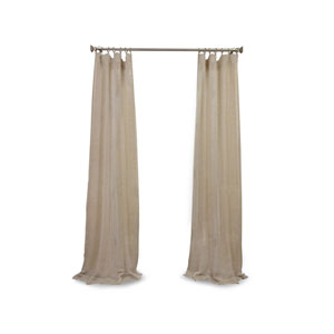 Open Weave Natural 120 x 50 In. Linen Sheer Curtain