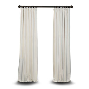Off White 96 x 50 In. Blackout Velvet Pole Pocket Single Panel Curtain