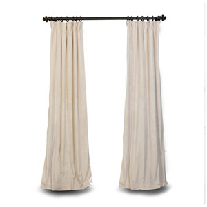 Ivory 96 x 50 In. Blackout Velvet Pole Pocket Single Panel Curtain