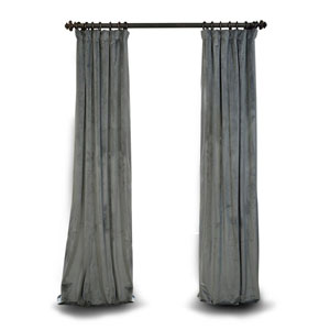 Natural Grey 96 x 50 In. Blackout Velvet Pole Pocket Single Panel Curtain