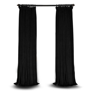 Black Double Wide 108 x 100 In. Velvet Blackout Pole Pocket Single Panel Curtain