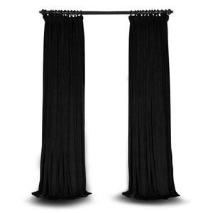 Black Double Wide 96 x 100 In. Velvet Blackout Pole Pocket Single Panel Curtain