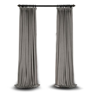 Silver Grey Double Wide 108 x 100 In. Velvet Blackout Pole Pocket Single Panel Curtain
