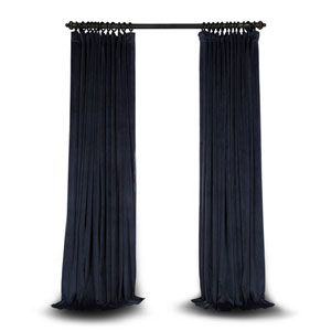 Blue Double Wide 96 x 100 In. Velvet Blackout Pole Pocket Single Panel Curtain