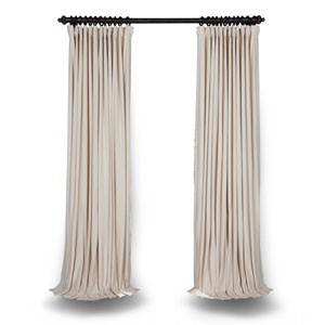 Ivory Double Wide 120 x 100 In. Velvet Blackout Pole Pocket Single Panel Curtain